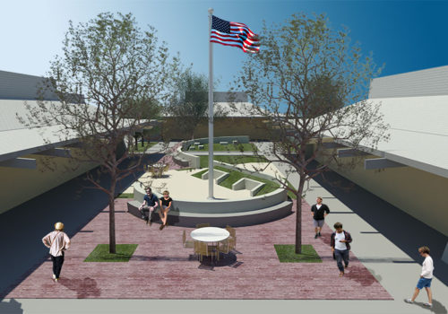 New Plaza with Landscaping at Foothill College